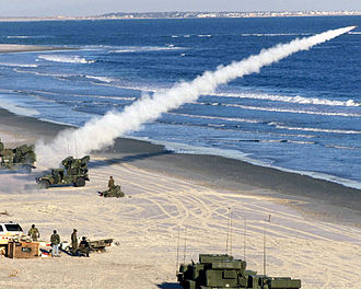 AN/TWQ-1 Avenger - A Stinger missile being launched from an Avenger platform at Onslow Beach, North Carolina, in April 2000.