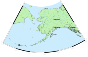 Gareloi Island - Gareloi's Location in Alaska.