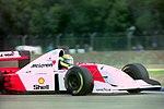 Ayrton Senna - Mclaren MP4-8 during practice for the 1993 British Grand Prix (32873581563).jpg
