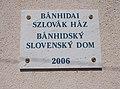 Bánhída Slovak Region House, sign, 2017 Tatabánya.jpg