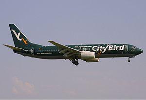 CityBird - The CityBird B737-86Q OO-CYN at Maastricht/Aachen Airport.