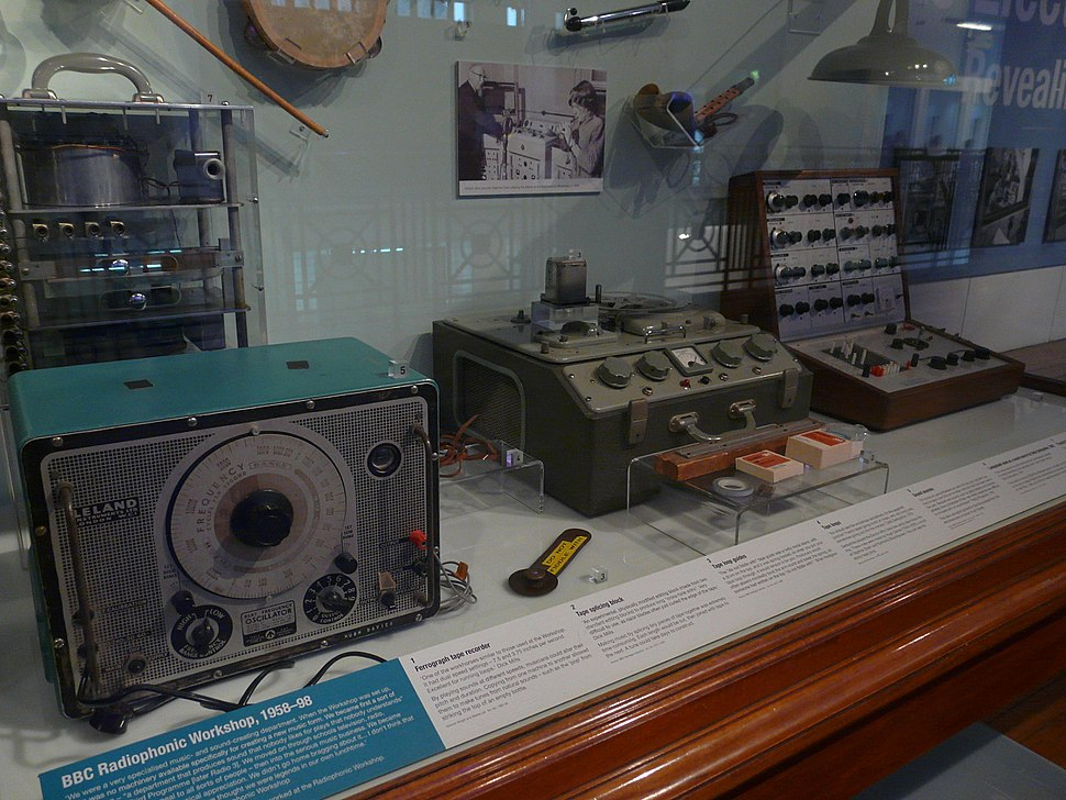 BBC Radiophonic Workshop (1958-98) machines - Tape Recorder with tape loop equipment, Beat Frequency Oscillator & EMS Putney VCS3