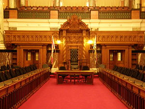 Politics of British Columbia - The chamber of the provincial legislature in Victoria