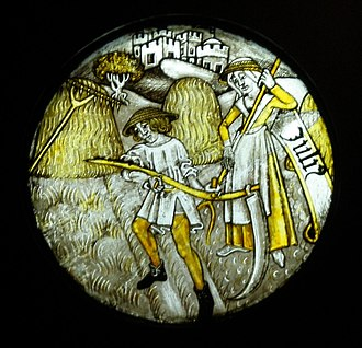 Economics of English agriculture in the Middle Ages - 15th-century hay-making, depicted in an English stained glass window.