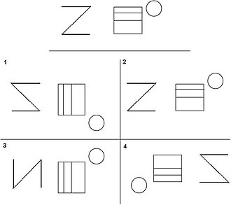 Visual memory - An example of the Benton Visual Retention Test. The target stimulus is presented at the top, after a delay participants are asked to recall the correct target stimulus from the list of design cards.