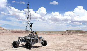 Mars analog habitat - The BYU Mars Rover undergoing field tests at the Mars Desert Research Station.