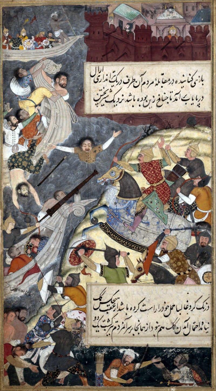 Babur crossing the Indus in the heat of battle