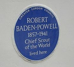 Photo of Robert Baden-Powell blue plaque