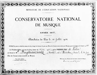 Ursula Bagdasarjanz - Conservatoire National de Musique Paris, first prize for violin, July 10th 1956