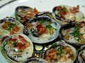Baked clams with champagne sauce and pancetta.jpg