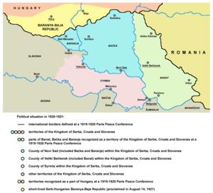 Banat, Bačka and Baranja - parts of Banat, Bačka and Baranja  plus Syrmia recognized as a territory of the Kingdom of Serbs, Croats and Slovenes at the Paris Peace Conference (1919-1920)