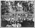 Bandstand and gathering at the residence of Paul deLongpre on Hollywood Boulevard and Cahuenga Avenue, Hollywood, ca.1910 (CHS-5543).jpg