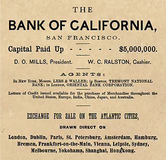 Bank of California - Bank of California ad, 1870
