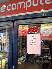 """Notice of closure stuck on the door of a computer store the day after its parent company, Granville Technology Group Ltd, declared """"bankruptcy"""" (strictly, put into administration—see text) in the United Kingdom."""