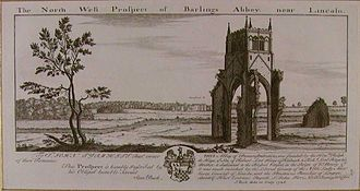 Barlings Abbey - Barlings Abbey, engraving by Samuel Buck