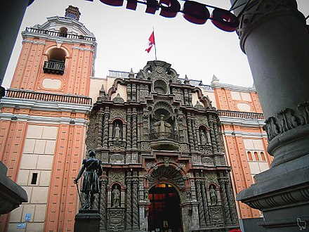 The Mercedarians not only evangelized Central Peru but also managed the architectural development of colonial Lima by building many of the notable churches that today are preserved. In the image the Basilica of Nuestra Senora de la Merced, Lima Basilica de Nuestra Senora de la Merced. Lima, Peru.jpg