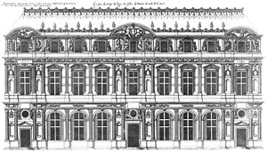 Lescot Wing - Lescot's facade as illustrated in Les Plus Excellents Bastiments de France (1576) by Jacques I Androuet du Cerceau