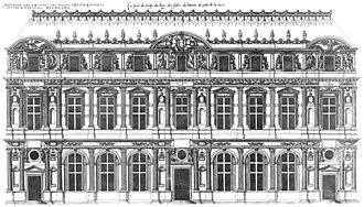 Lescot Wing - Lescot's facade as illustrated in Les Plus Excellents Bastiments de France (1576) by Jacques I Androuet du Cerceau