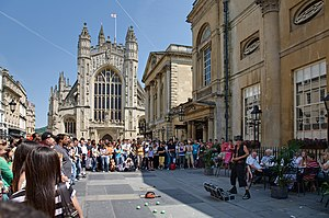 Bath Abbey and Entertainer. Bath is very popul...