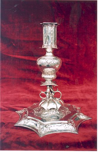 Household silver - Image: Bath Candlestick one of a pair