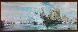William Lionel Wyllie - Image: Battle Of Trafalgar By William Lionel Wyllie, Juno Tower, CFB Halifax Nova Scotia