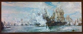 William Lionel Wyllie - Image: Battle Of Trafalgar By William Lionel Wyllie, Juno Tower, CFB Halifax Nova Scotia