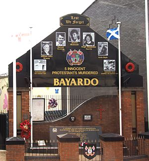 Bayardo Bar attack - Memorial to the victims of the attack on the site of the Bayardo Bar