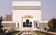 Baitul Mukarram (Dhaka), the National Mosque of Bangladesh. The structure resembles the Kaaba in Mecca.