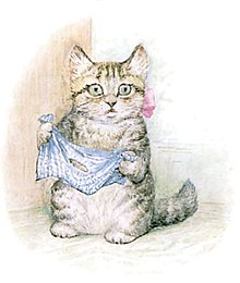 A kitten holding a cloth