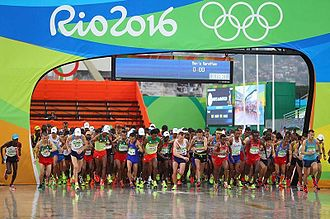 Athletics at the 2016 Summer Olympics – Men's marathon - Beginning of the competition in the rain