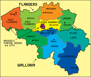Geography of Belgium - Map of Belgian regions and provinces.
