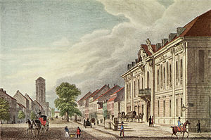 Jerusalem Church (Berlin) - View in 1850 from the Collegiengebäude (Brandenburg Consistory and Kammergericht joint office building) northeastwards through Lindenstraße towards the tower stump of Jerusalem Church before its refurbish in 1878.