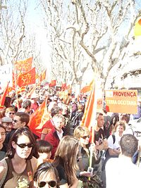 A demonstration for Occitania and the Occitan language in Béziers on March 17, 2007