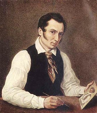 Nikolay Bestuzhev - Self-portrait (1838); holding portrait of his brother, Mikhail (below)