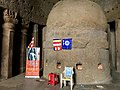 Bhimrao Ambedkar image and Navayana Buddhist worship at Kanheri caves Mumbai.jpg
