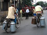 Transporting milk churns in Kolkata, India.