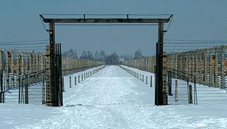 Auschwitz-Birkenau Memorial and Museum - Gate in Auschwitz-Birkenau leading to crematoria IV and V.