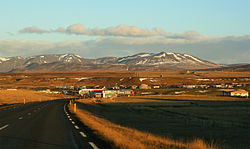 Blönduós, with Hörfell and Árbakkafjall looming on Skagí peninsula, November 2007