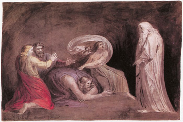 Blake The Witch of Endor Raising the Spirit of Samuel 1783 Pen and watercolor New York Public Library
