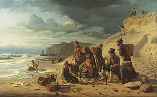 Fishermen's families avaiting their return in an approsching storm. From the west coast of Jutland.