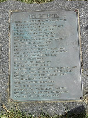 Day of the Vow - Plaque located approximately where the laager stood during the Battle of Blood River, with die Gelofte - the Vow - inscribed upon it