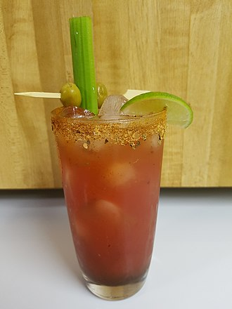 Clam juice - Bloody Caesar cocktail prepared with Clamato juice