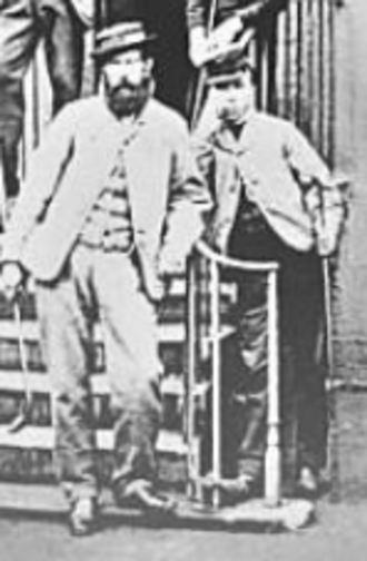 Bob Kirk - Kirk (right) with Old Tom Morris on 17 May 1867 at Leith Links