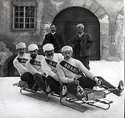 Historic bobteam from Davos around 1910