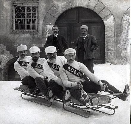 The Swiss bobsled team from 1910. How things have changed!