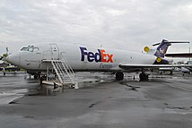 A FedEx Express Boeing 727-200 registered as N466FE on display at the Aerospace Museum of California.