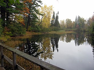 Bonnechere Provincial Park - The Bonnechere River in autumn as it snakes through the park campground.