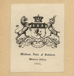 William Russell, 8th Duke of Bedford - Bookplate of William Russell, Duke of Bedford