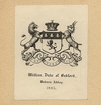 Duke of Bedford - Bookplate showing the coat of arms of the Duke of Bedford