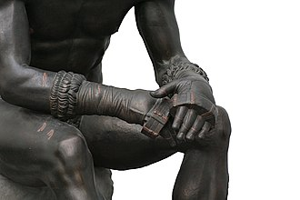 Ancient Greek boxing - Detail of leather straps.